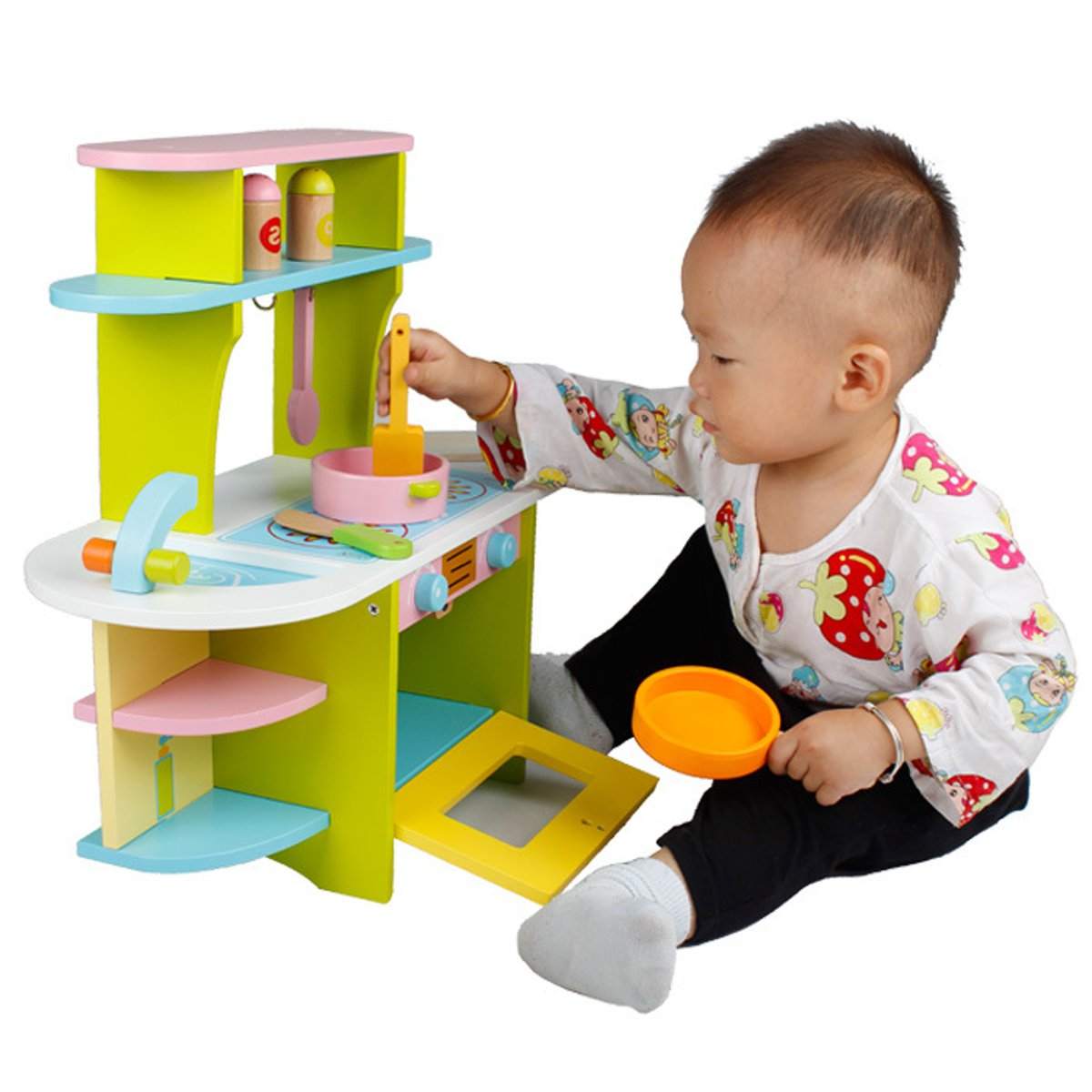 Baby Wooden Miniature Kitchen Pretend Play Food Children Kids Toys for Girls Boys Simulation Cooking Cookware Kitchen Toys Set