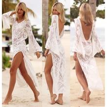 2018 New Style Lace Pretty WOMENS LACE CROCHET BIKINI BEACHWEAR COVER UP BEACH DRESS SUMMER BATHING SUIT Beige Cove up