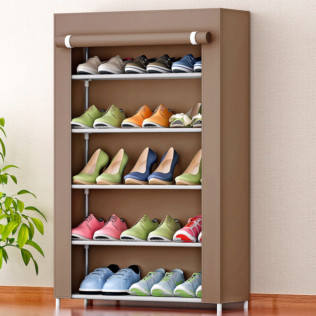 5 Tier Shoe Rack 15 Pairs Shoes Storage Cabinet With Dust Proof Non Woven Fabric Cover Organizer