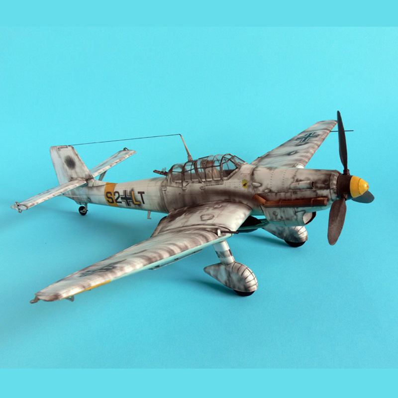 1:33 Germany Ju-87 Bomber Aircraft Model 3D Paper Model Space Library Papercraft Cardboard House For Children Paper Toys
