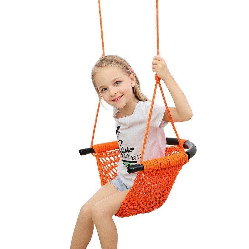 Nouveautés sécurité coton corde hamac tissé à la main balançoire ensemble chambre enfants balançoire coloré balançoire extérieure chaise suspendue