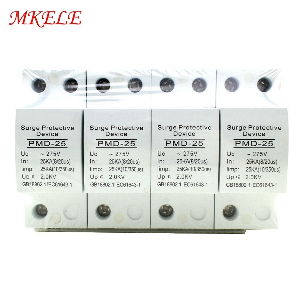 4P 25KA 275V Plastic House Protective Hot Sale Surge Protector Device For Lightning Protection Low voltage Lightning Arrester