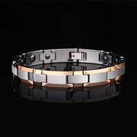 Hot Selling 8mm/10mm Width Fashion Jewelry Rose Gold Plating Tungsten Carbide Bracelet With Magnetic Stone His OR Her Best Gift