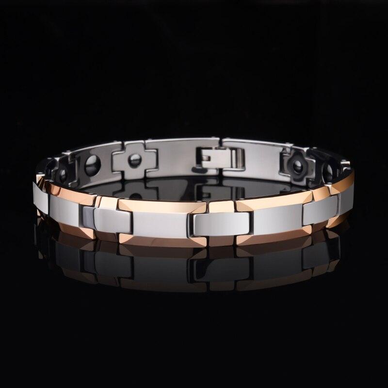 Vente chaude 8mm/10mm largeur bijoux de mode OR Rose placage carbure de tungstène Bracelet avec pierre magnétique son meilleur cadeau