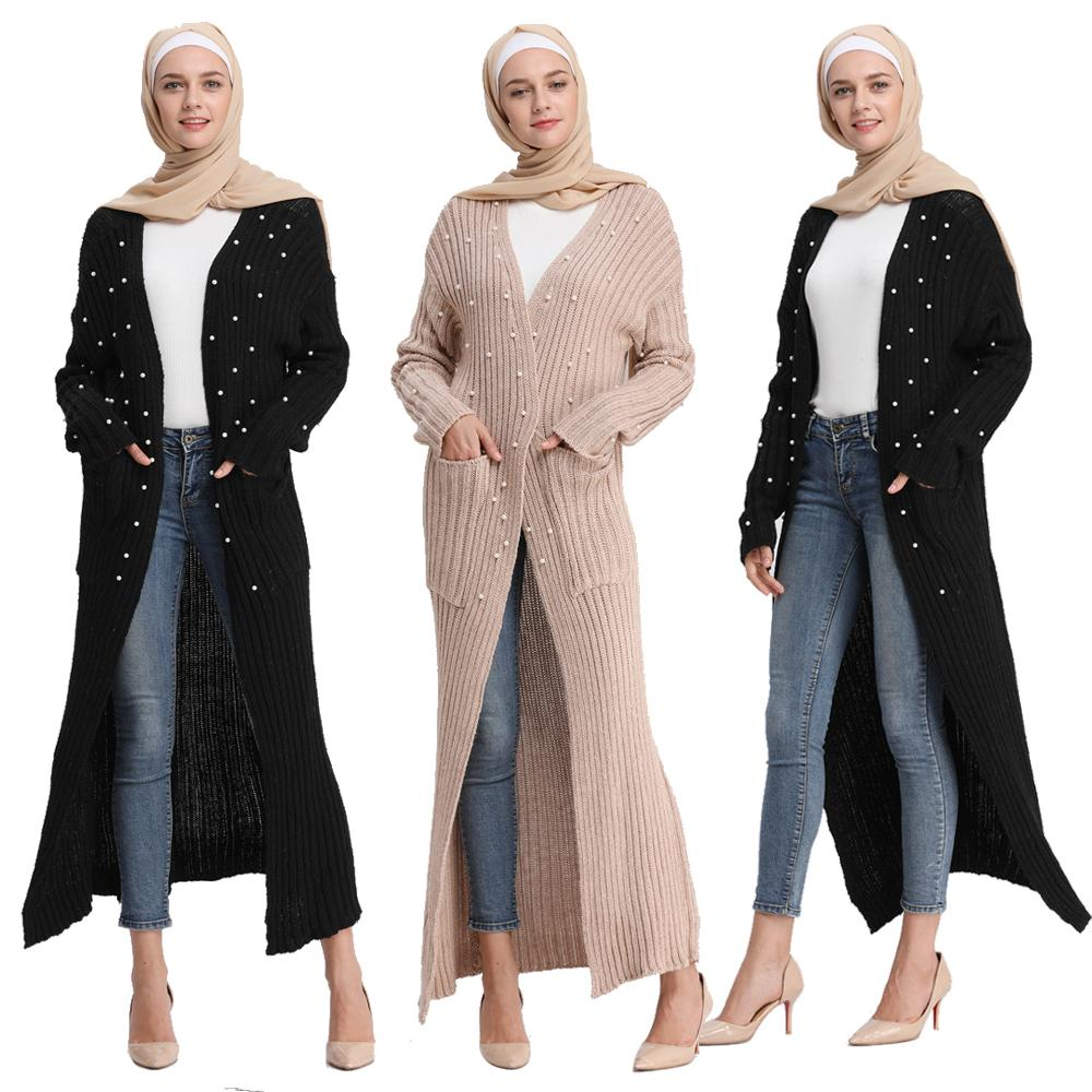 Muslim Women Knitting Gown Cardigan Sweater Pearls Maxi Robe Beading Abaya Dubai Coat Warm Pockets Tunic Islamic Worship Service