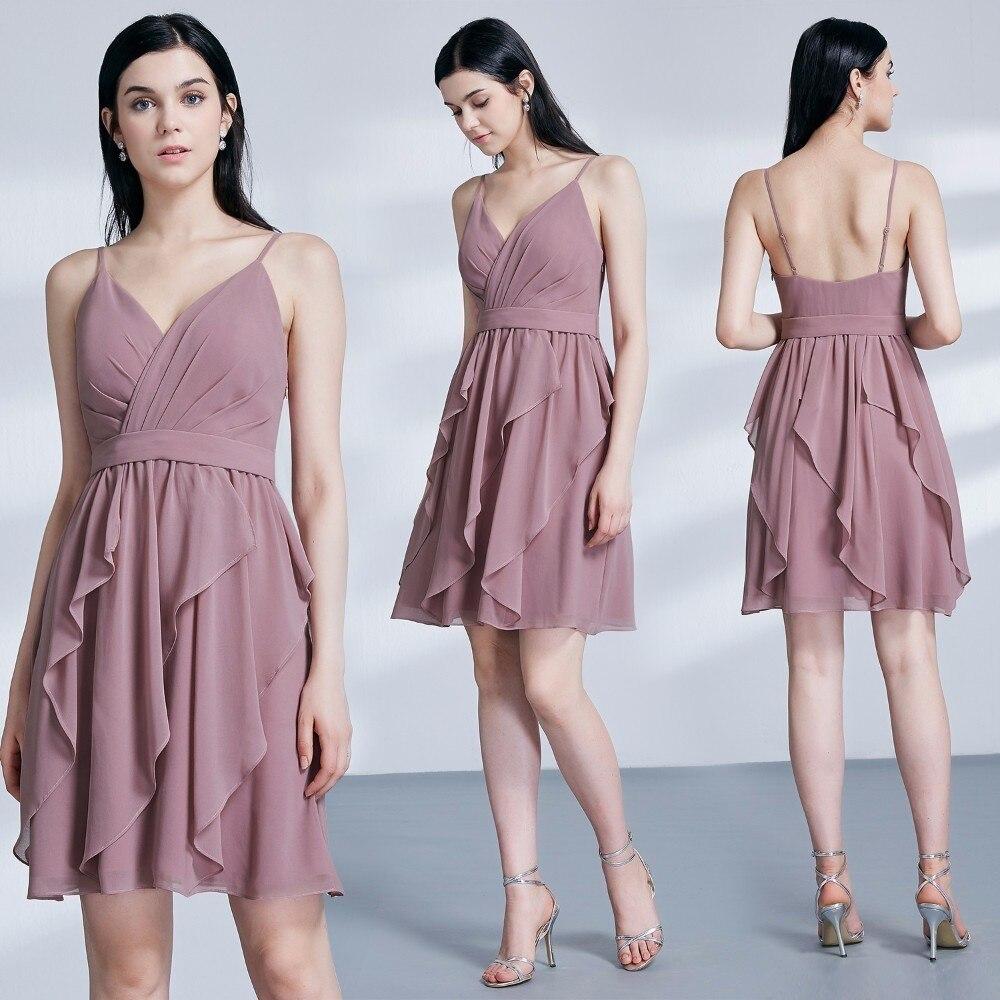 Sexy Backless   Cocktail     Dresses   Ever Pretty A-Line V-Neck Spaghetti Straps Sleeveless Above Knee   Dresses   Robe de   Cocktail   2019
