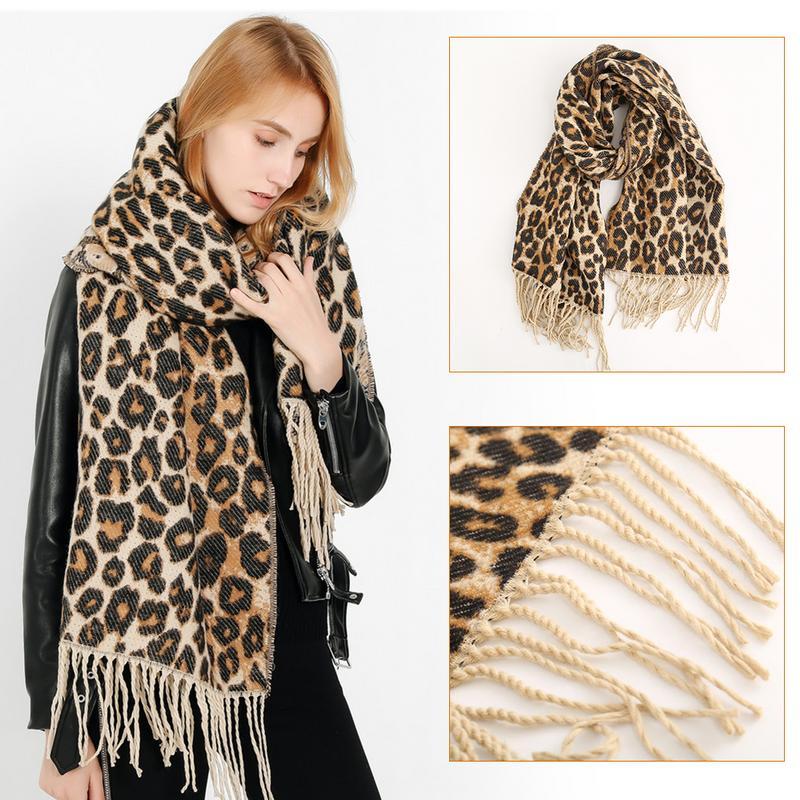 2018 NEW Women Faux Fur Shawl Scarf Street Style Shawl Autumn Winter Hot Cake New Leopard Print Tassel Cashmere Warm Scarf