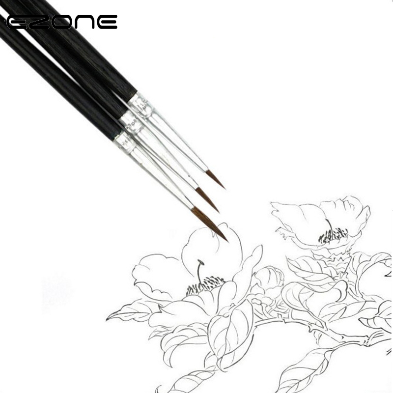 EZONE 3PCS Fine Hook Line Pen Paint Brush Differebt Size Brush Line Drawing Pen For Oil Watercolor Painting Students Stationery