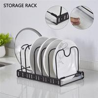 Kitchen Organizer Pot Lid Rack Wrought Iron Spoon Holder Pot Lid Shelf Cooking Dish Rack Pan Cover Stand Kitchen Accessories