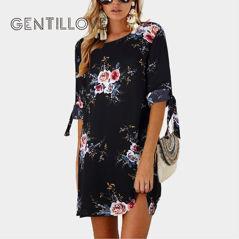 Gentillove Summer Dress Women Boho Style Floral Print Chiffon Dress Tunic Beach Sundress Maxi Party Dress Plus Size 5XL Vestidos