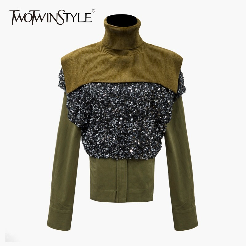 TWOTWINSTYLE Three Piece Set Women Knitting Turtleneck Shawl Sequins T shirts Long Sleeve Blouse Women s