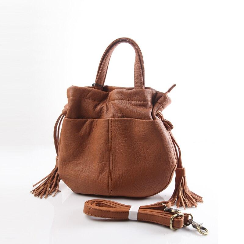 Peau Pure corée du sud unique épaule Messenger sacs seau petit fourre-tout en cuir véritable gland sac corde harnais Portable pour dame
