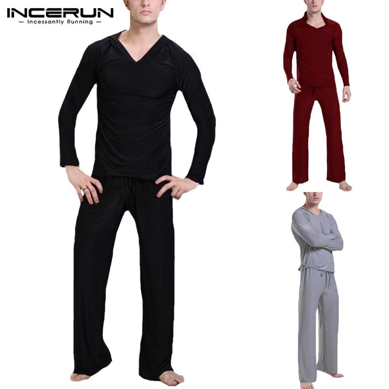 INCERUN Pants Sleepwear Pajamas Suit Homewear-Sets Solid Casual Soft Tops Hooded Men