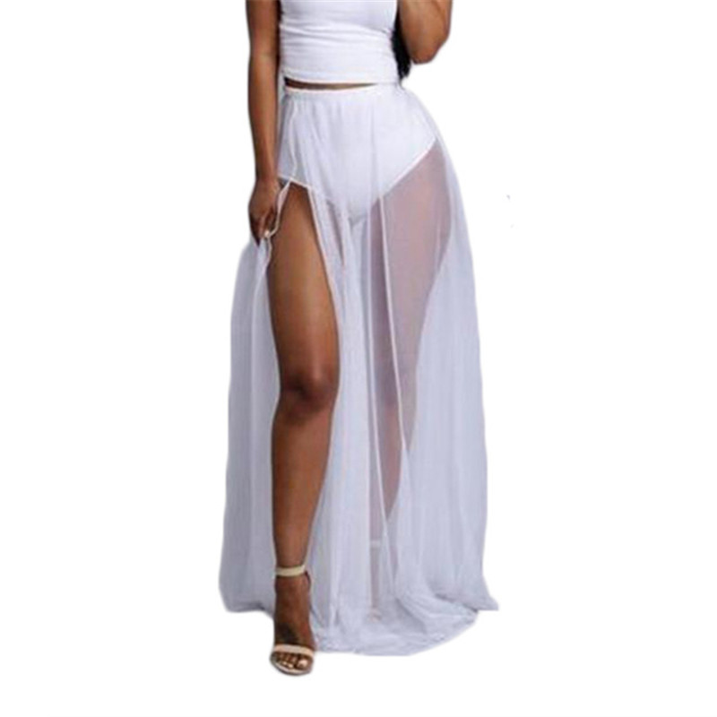 Sexy Women Solid color skirts Fashion High waisted Women lady bathing beach Summer Split Mesh Sheer See-through Bottoms Sale