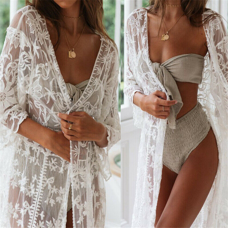 2019 Sexy Summer Women Three Quarter Floral Lace Crochet Kimono Swimwear Cardigan Bikini Cover Up Wrap Beachwear Long Cover-Ups