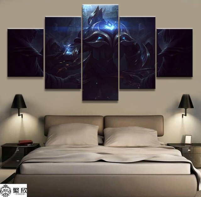 5 Panel LOL League of Legends Zed Game Canvas Printed Painting For Living Room Wall Art Home Decor HD Picture Artworks Poster