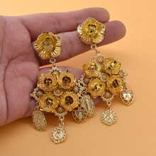 Baroque Vintage Drop Earrings Exaggerated Women Flower Coin Dangle Bohemia Court Style Female Party Show Jewelry 1 Pair