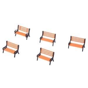 Promotion! 5pcs Plastic Model Park Bench Model Landscape 1:50 w/ Black Arm