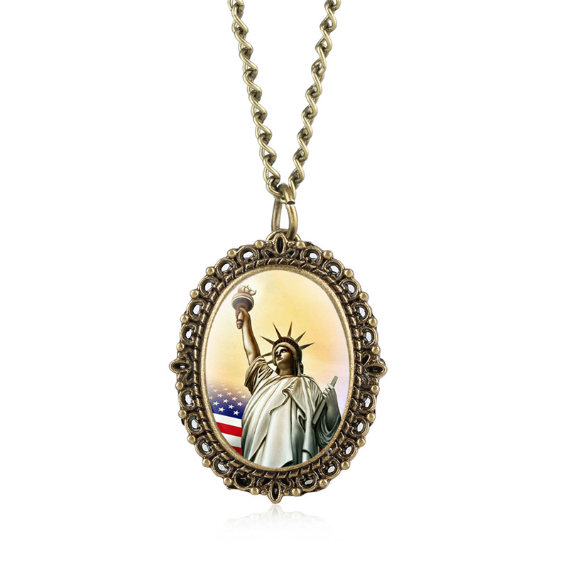 Women's Quartz Pocket Watch Vintage Statue Of Liberty Pocket Watches Relogio Feminino Arabic Digital Watch Pendant For Men Women