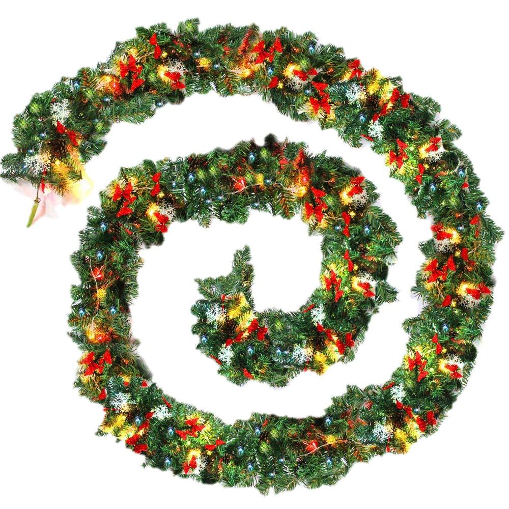 9ft 270cm Plain Green Christmas Garland With Warm White Led Light