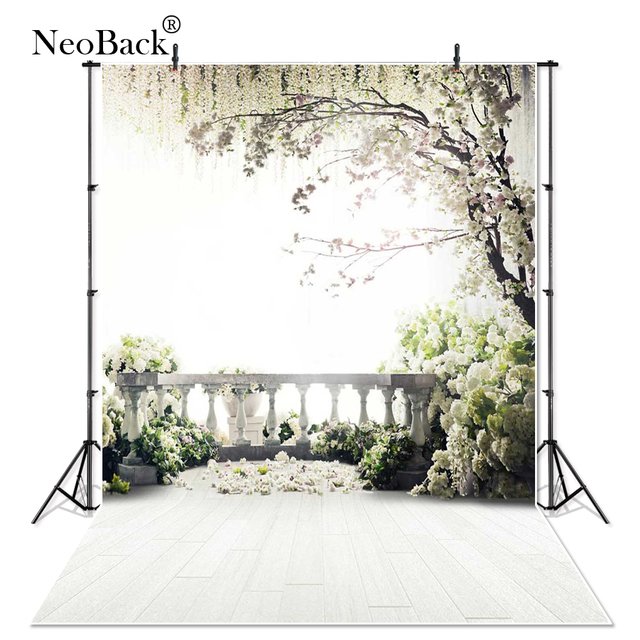 Thin Vinyl Garden Flower Banisters Photo Background trees garden view wedding Photography backdrops Studio For Indoor Photo