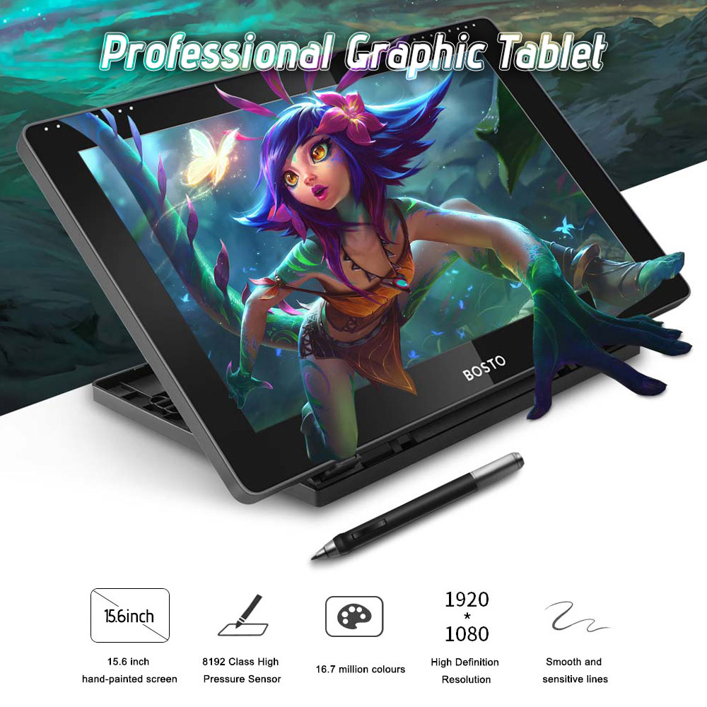 BOSTO 16HD 15 6 Inch IPS Graphics Drawing Tablet Display Monitor 8192 Pressure Level with Rechargeable