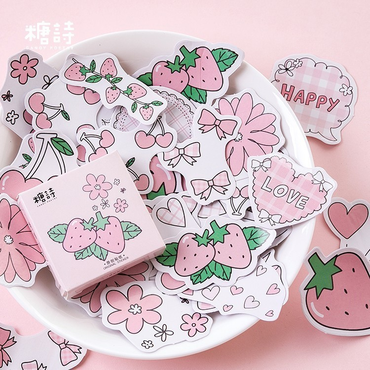 45PCS/box Cute Strawberry Flavor Paper Lable Sealing Stickers Crafts Scrapbooking Decorative Lifelog DIY Stationery Sticker