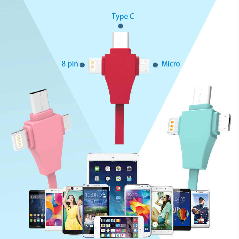 Multi-función de tres en uno apple android tipo-c cable sacar tres tirar expansion cable