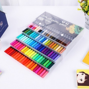 12/18/24/36/48/72/100 Colors Fineliner Drawing Painting Watercolor Art Marker Pens Dual Tip Brush Pen School Supplies Stationery