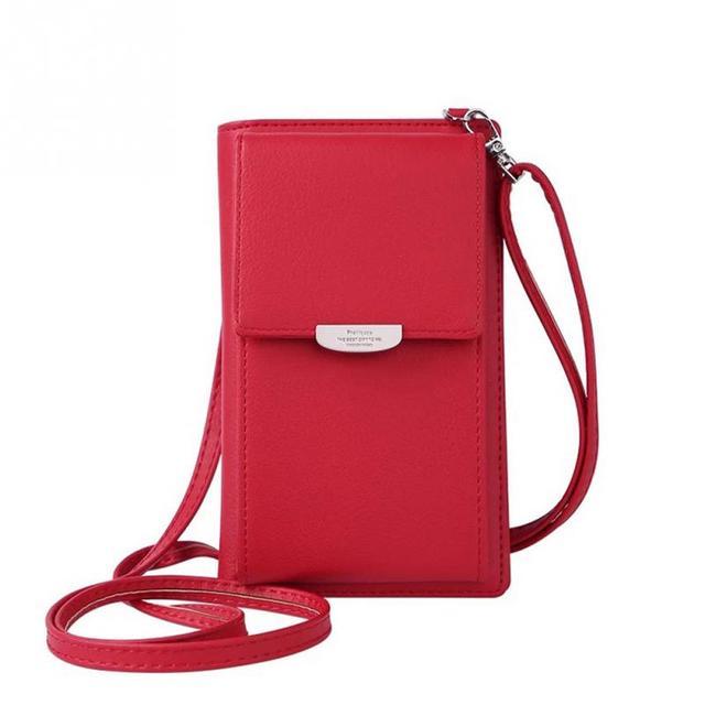 1cbfbe68177e5 المرأة البسيطة حقيبة ساعي عبر الجسم حقيبة حزام طويل بو جلدية صغيرة الإناث  شنطة كتف الإناث مخلب الهاتف النقدية حافظة للبطاقات
