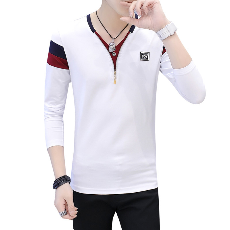 2019 Spring T-Shirt Men Long Sleeve Casual Zipper T Shirts Self-cultivation Design Simple T Shirt Brand New Round Neck Homme 5