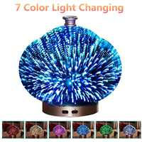 EU Plug 3D Glass Humidifier LED Night Light Air Humidifier Glass Vase Shape Aroma Essential Oil Diffuser Mist Maker 7 Colors