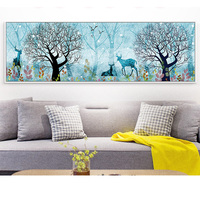 Canvas Size 50x120cm Diamond Embroidery Deer Forest Cross Stitch Crystal Needlework Unfinished Decorative Diy Diamond Painting