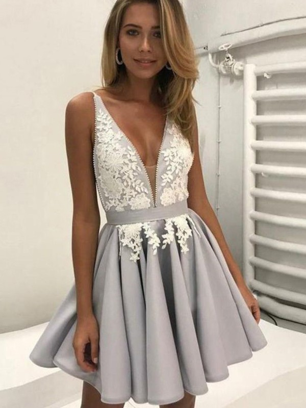 A-line Spaghetti StrapIvory And Grey Mini Short   Prom     Dresses   2019
