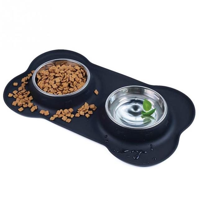 Stainless Steel Double Bowl with Silicone Mat
