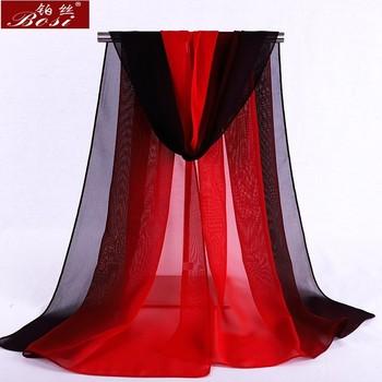 Chiffon scarf gradient women hijab winter brand autumn red long scarfs poncho luxury ladies scarves shawl sjaal long bohemian gg 1