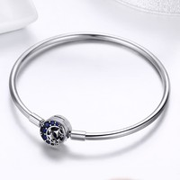 100% 925 Sterling Silver Blue CZ Moon and Star Bracelet & Bangles for Women Sterling Silver Jewelry S925 SCB080 BAMOER