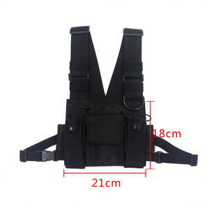 Image 2 - Tactical Vest Nylon military Vest chest rig Pack Pouch Holster Tactical Harness walkie talkie radio Waist Pack for Two Way Radio
