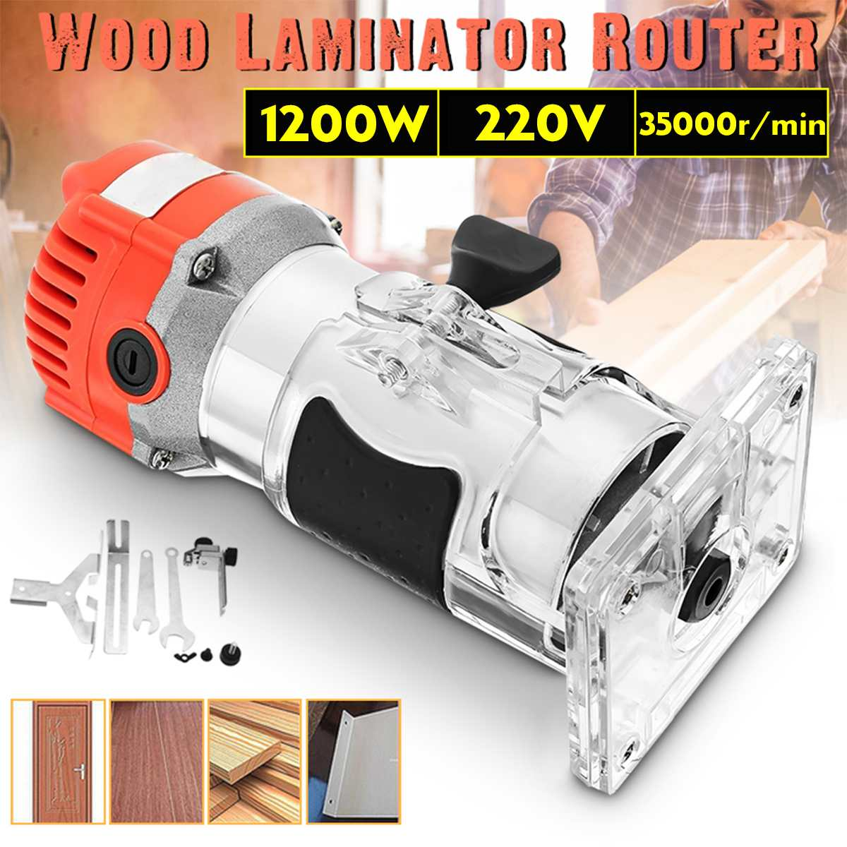 Electric Wood Trimmer Laminator 1200W 220V 35000r/min Router Joiners Tool Set Aluminum+Plastic 6.35mm Collet Diameter Waterproof
