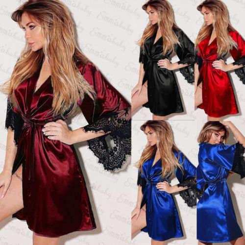 US $2 13 11% OFF|Sexy Ladies Silk Lace Soft Loose Night Dress Women  Steamless Floral Kimono Robe Satin Silk Night Dress Gown Sleepwear  Nightwear-in
