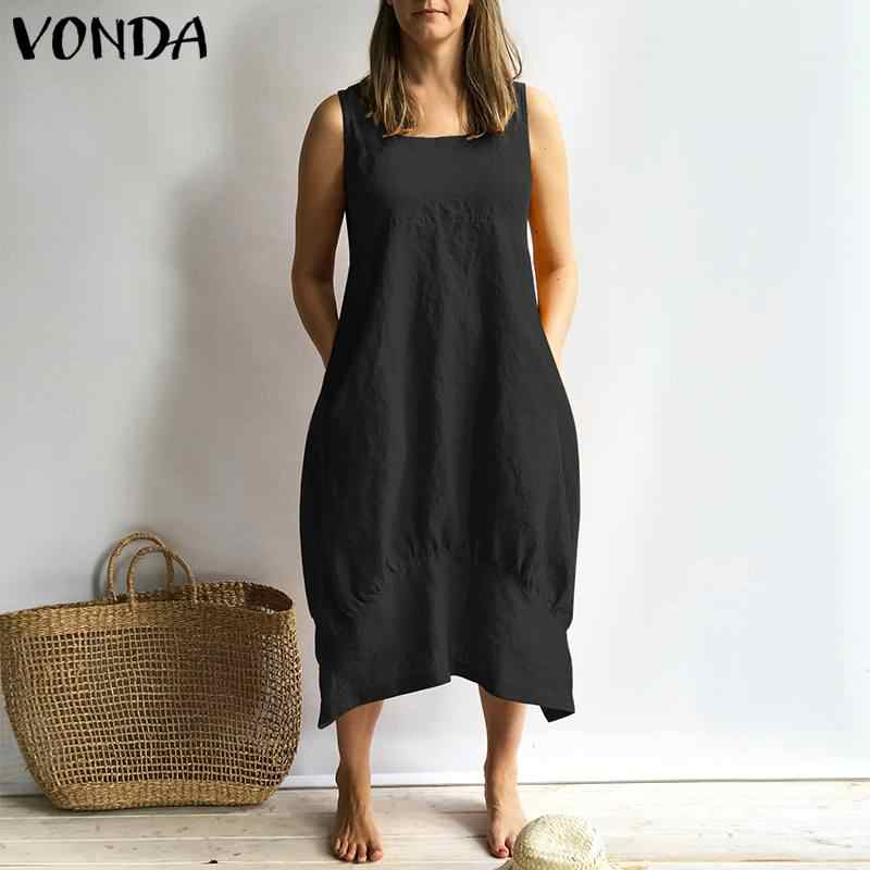 8e25d2d7190 ... VONDA Women Dress 2019 Summer Sexy Sleeveless Square Neck Cotton Dresses  Vintage Casual Loose Solid Vestidos ...