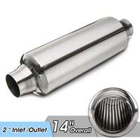 Universal Car Exhaust Pipe Muffler Resonator 51mm Inlet/Outlet Exhaust Tip Tube Stainless Steel