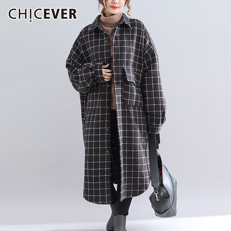 CHICEVER Autumn Winter Plaid Coat Female Jackets Batwing Sleeve Loose Oversize Asymmetric Hem Fashion Casual Clothes