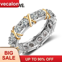Vecalon 3 colors Gem AAAAA Zircon Cz Engagement Wedding Band ring for Women 10KT White Yellow Gold Filled Female ring