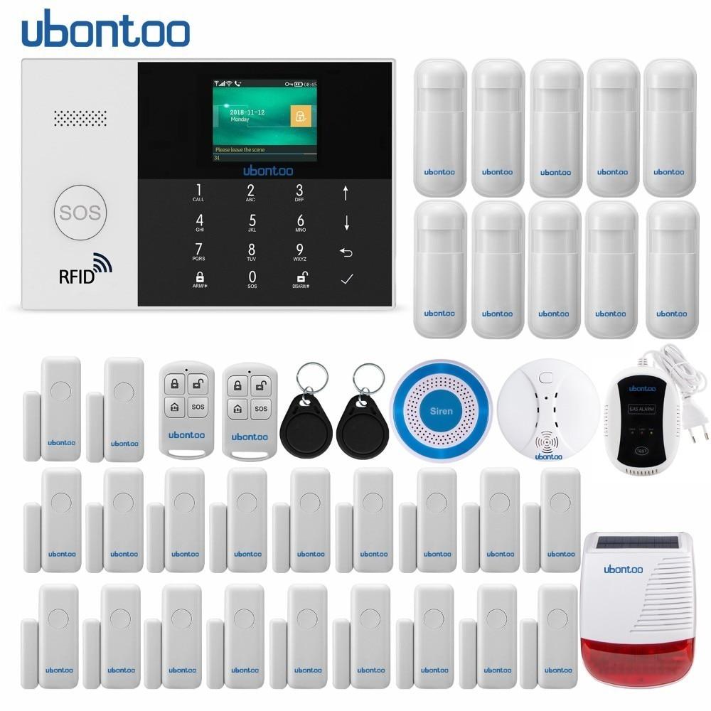 Capteur antivol sans fil ubontoo sécurité à domicile WIFI RFID SIM système d'alarme GSM IOS Android APP contrôle clavier tactile LCD
