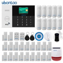 ubontoo  Wireless Burglar Sensor Home Security WIFI RFID SIM GSM Alarm System IOS Android APP Control LCD Touch Keyboard yobang security wireless home security wifi rfid sim gsm alarm system ios android app control video ip camera smoke fire sensor