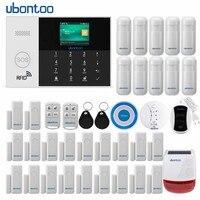ubontoo Wireless Burglar Sensor Home Security WIFI RFID SIM GSM Alarm System IOS Android APP Control LCD Touch Keyboard