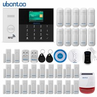 ubontoo Wireless Burglar Sensor Home Security WIFI RFID SIM GSM Alarm System IOS Android APP Control LCD Touch Keyboard