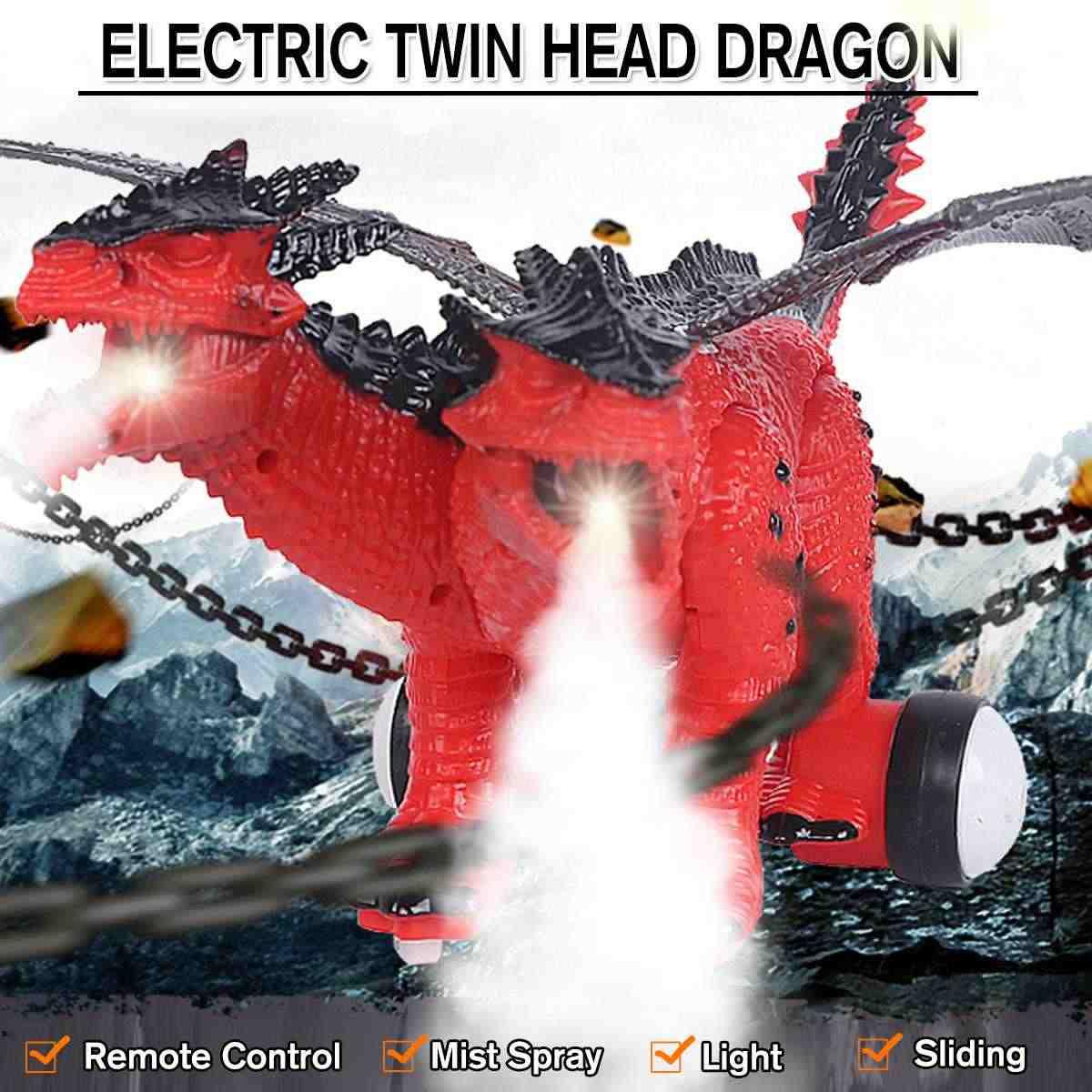 RC с двойной головкой спрей Дракон туман динозавр дистанционное управление средства ухода для век звуки делает весело электрическ