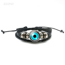 Vintage Evil Eyes Black Woven Leather Bracelets ,DIY Glass Cabochon Creative Eyes Bracelets , Men Women Special Gift(China)